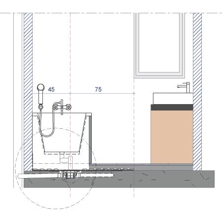 installation sous la baignoire d un siphon de sol haut d bit isotanche avec syst me d tanc. Black Bedroom Furniture Sets. Home Design Ideas