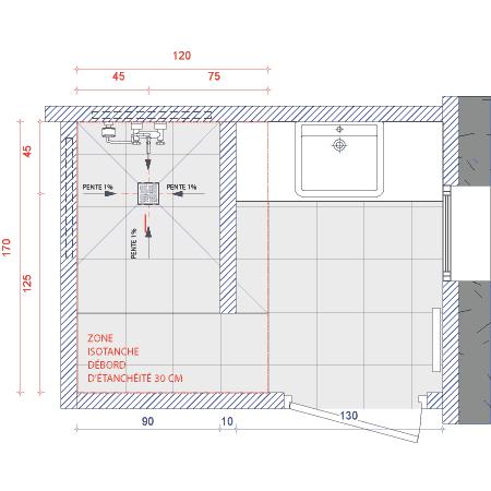Installation d un siphon de sol haut d bit isotanche avec syst me d tanch it int gr a for Plan de douche a l italienne